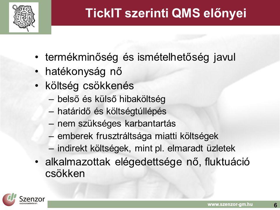 TickIT szerinti QMS előnyei
