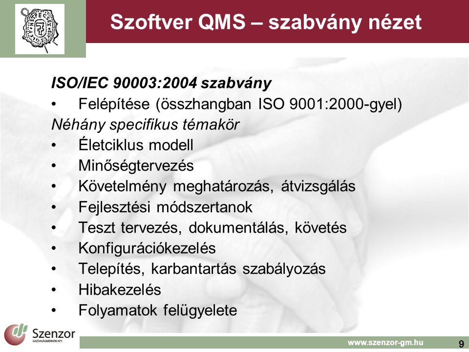 Szoftver QMS – szabvány nézet