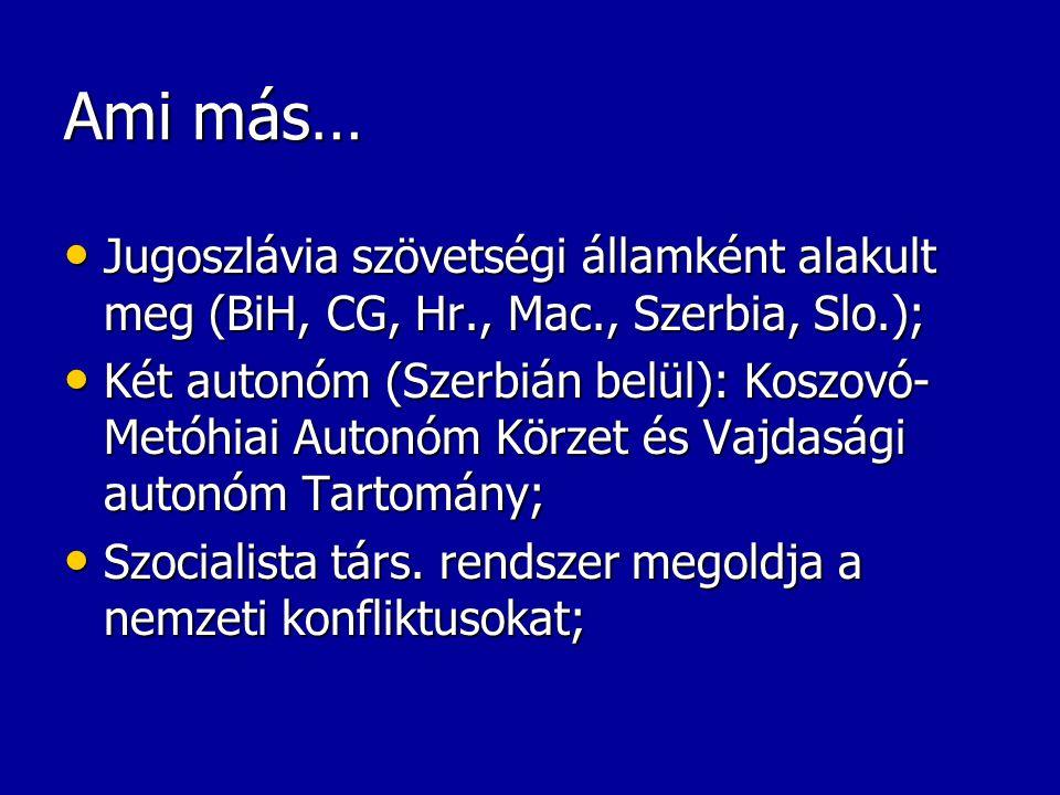 Ami más… Jugoszlávia szövetségi államként alakult meg (BiH, CG, Hr., Mac., Szerbia, Slo.);