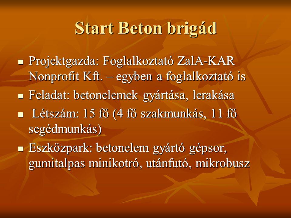 Start Beton brigád Projektgazda: Foglalkoztató ZalA-KAR Nonprofit Kft. – egyben a foglalkoztató is.