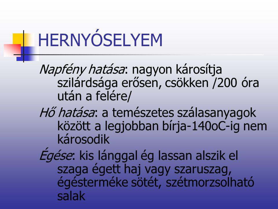 HERNYÓSELYEM Napfény hatása: nagyon károsítja szilárdsága erősen, csökken /200 óra után a felére/