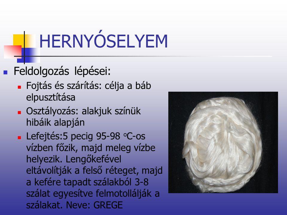 HERNYÓSELYEM Feldolgozás lépései: