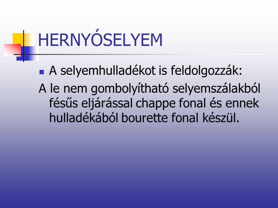 HERNYÓSELYEM A selyemhulladékot is feldolgozzák: