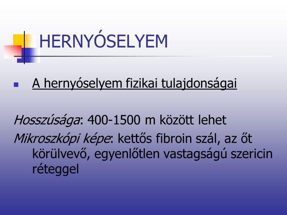 HERNYÓSELYEM A hernyóselyem fizikai tulajdonságai