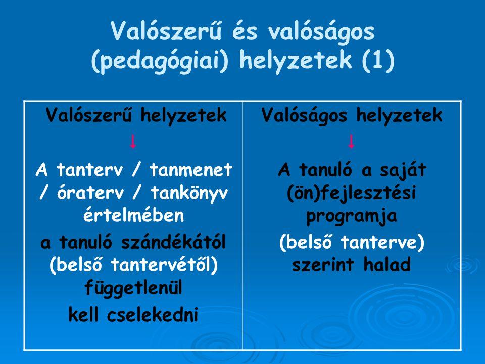 Valószerű és valóságos (pedagógiai) helyzetek (1)