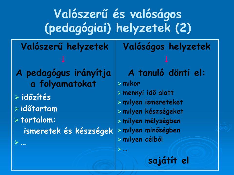 Valószerű és valóságos (pedagógiai) helyzetek (2)