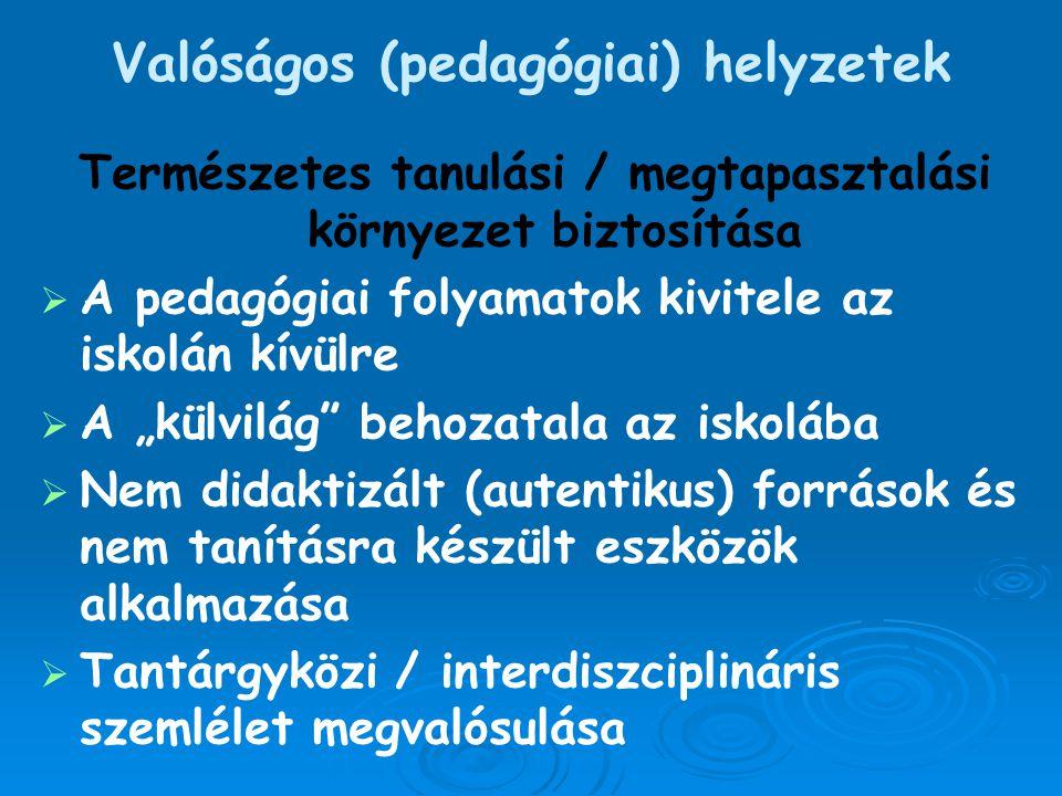 Valóságos (pedagógiai) helyzetek