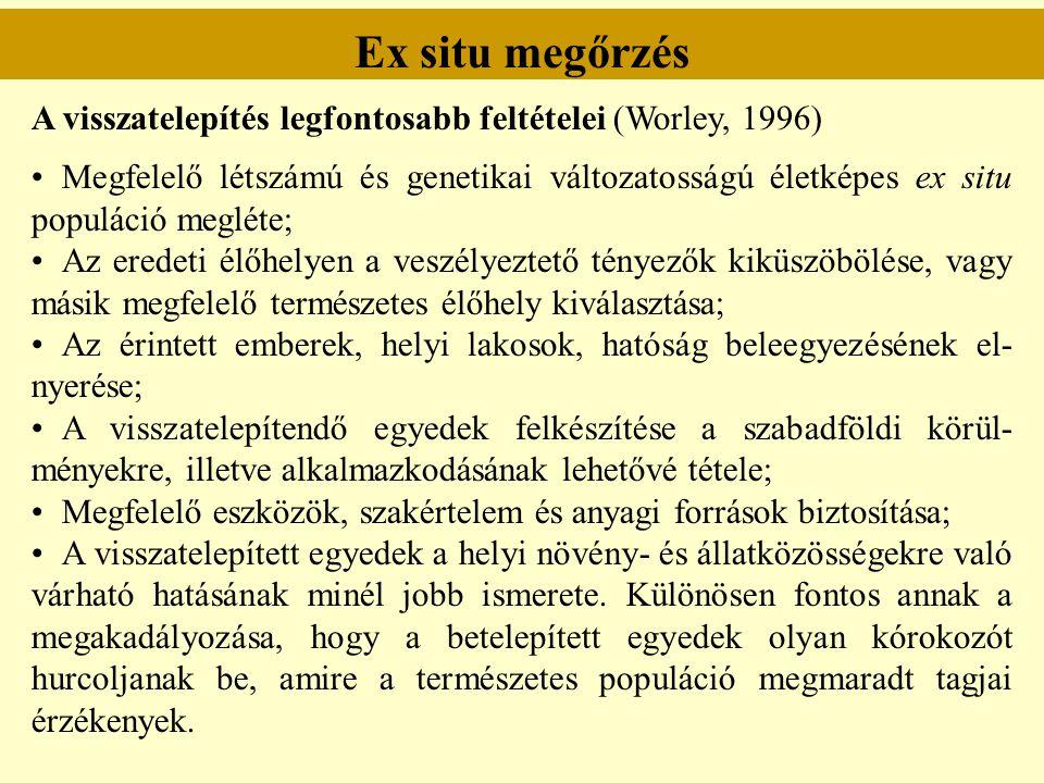 Ex situ megőrzés A visszatelepítés legfontosabb feltételei (Worley, 1996)