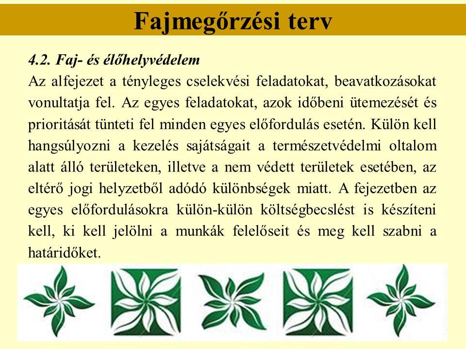 Fajmegőrzési terv 4.2. Faj- és élőhelyvédelem