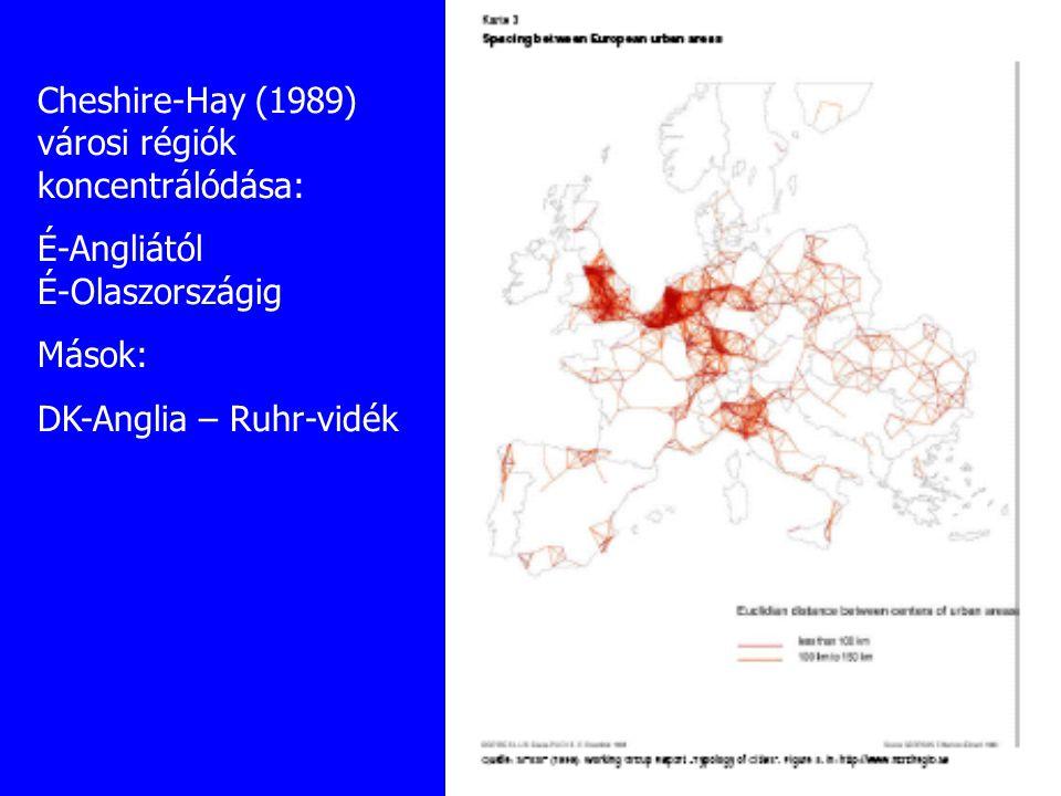 Cheshire-Hay (1989) városi régiók koncentrálódása:
