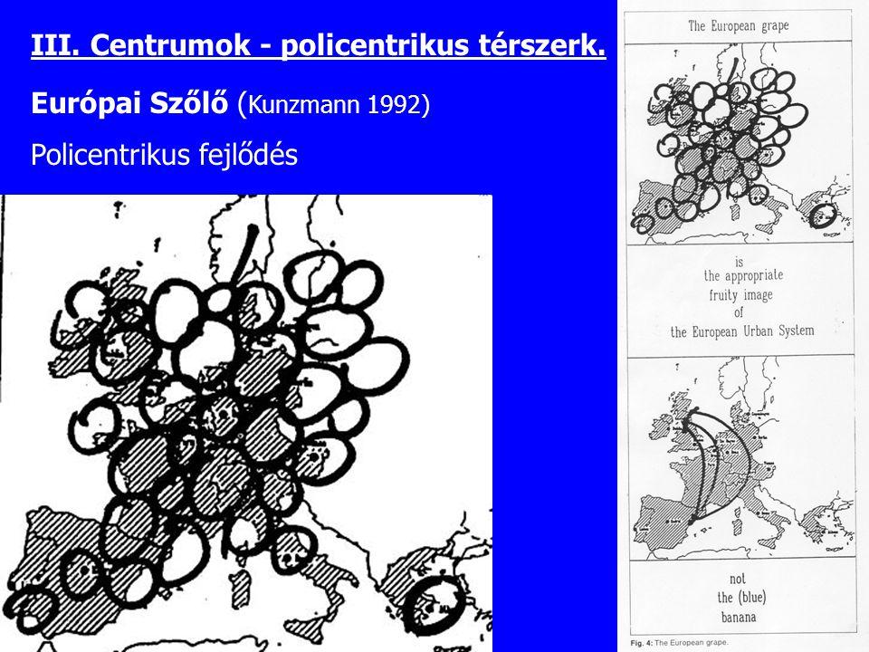 III. Centrumok - policentrikus térszerk.