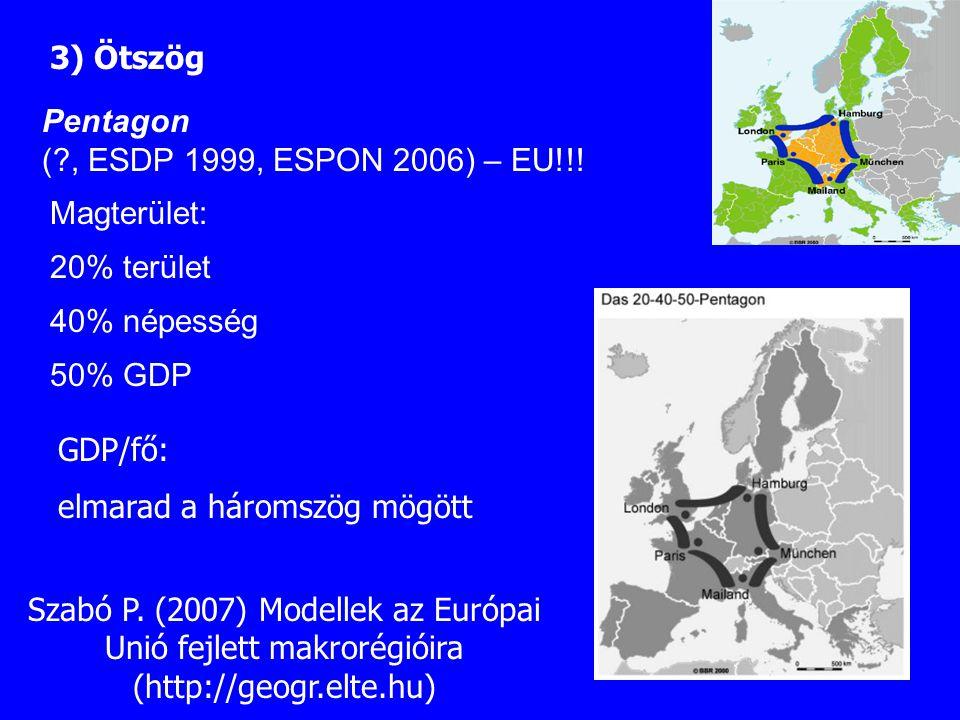 3) Ötszög Pentagon. ( , ESDP 1999, ESPON 2006) – EU!!! Magterület: 20% terület. 40% népesség. 50% GDP.