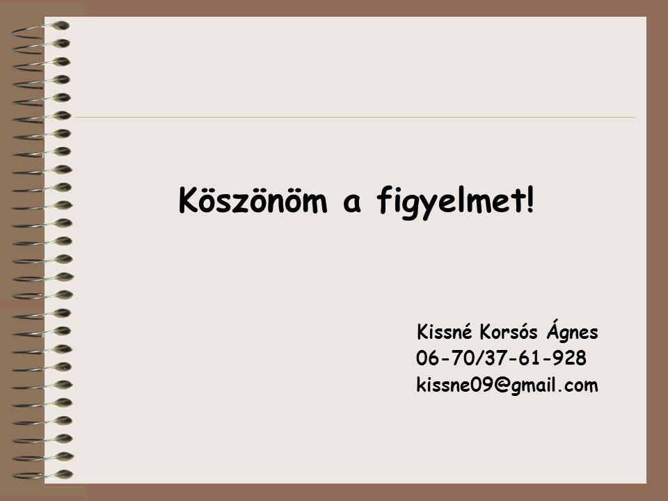 Köszönöm a figyelmet! Kissné Korsós Ágnes 06-70/37-61-928