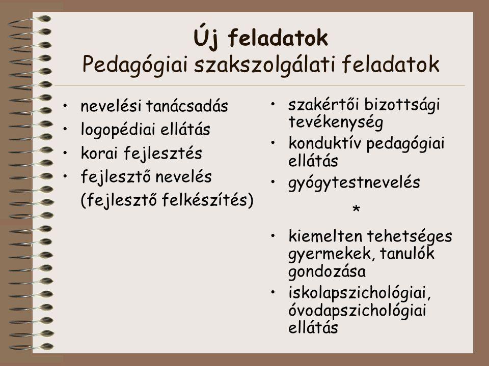 Új feladatok Pedagógiai szakszolgálati feladatok