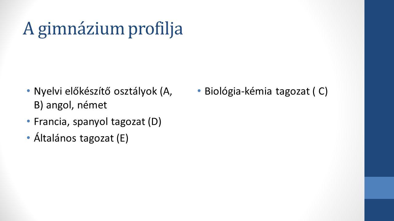 A gimnázium profilja Nyelvi előkészítő osztályok (A, B) angol, német