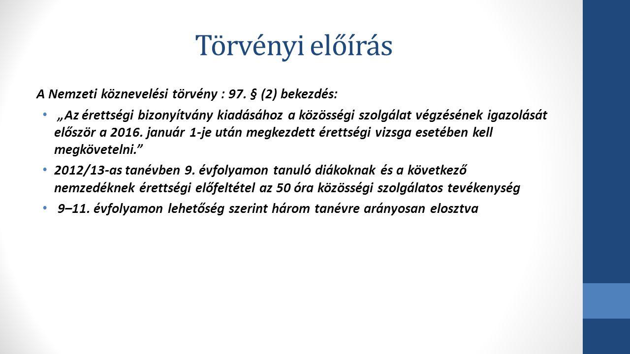 Törvényi előírás A Nemzeti köznevelési törvény : 97. § (2) bekezdés: