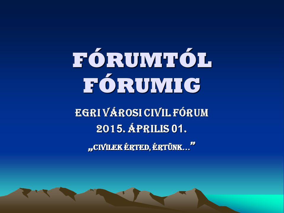 """EGRI VÁROSI CIVIL FÓRUM 2015. április 01. """"civilek érted, értünk…"""