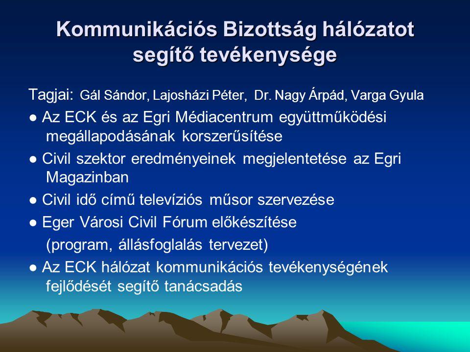 Kommunikációs Bizottság hálózatot segítő tevékenysége