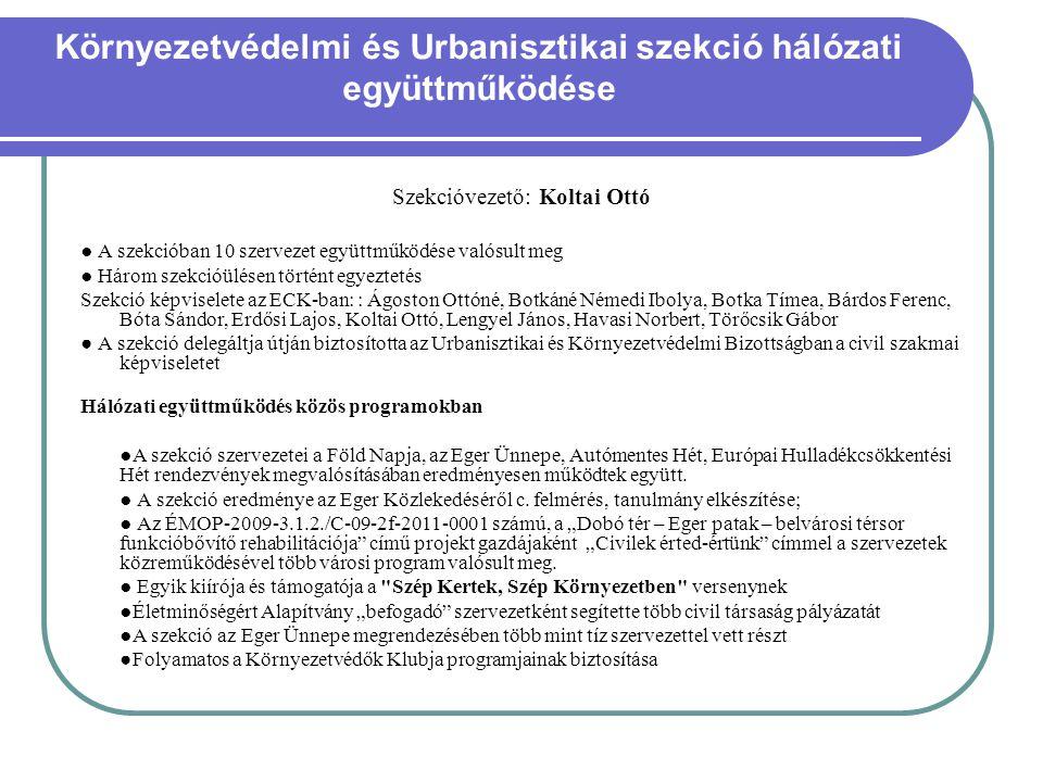 Környezetvédelmi és Urbanisztikai szekció hálózati együttműködése