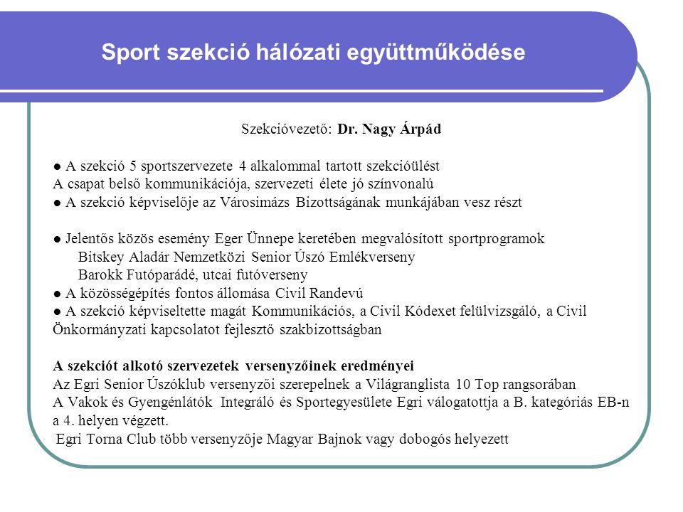 Sport szekció hálózati együttműködése