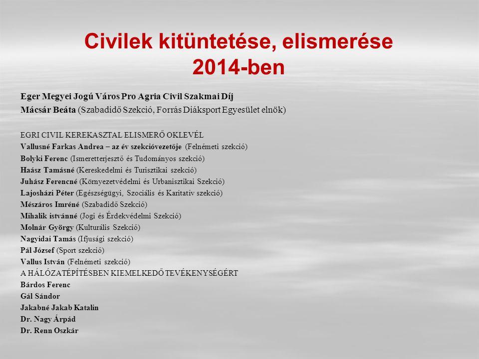 Civilek kitüntetése, elismerése 2014-ben