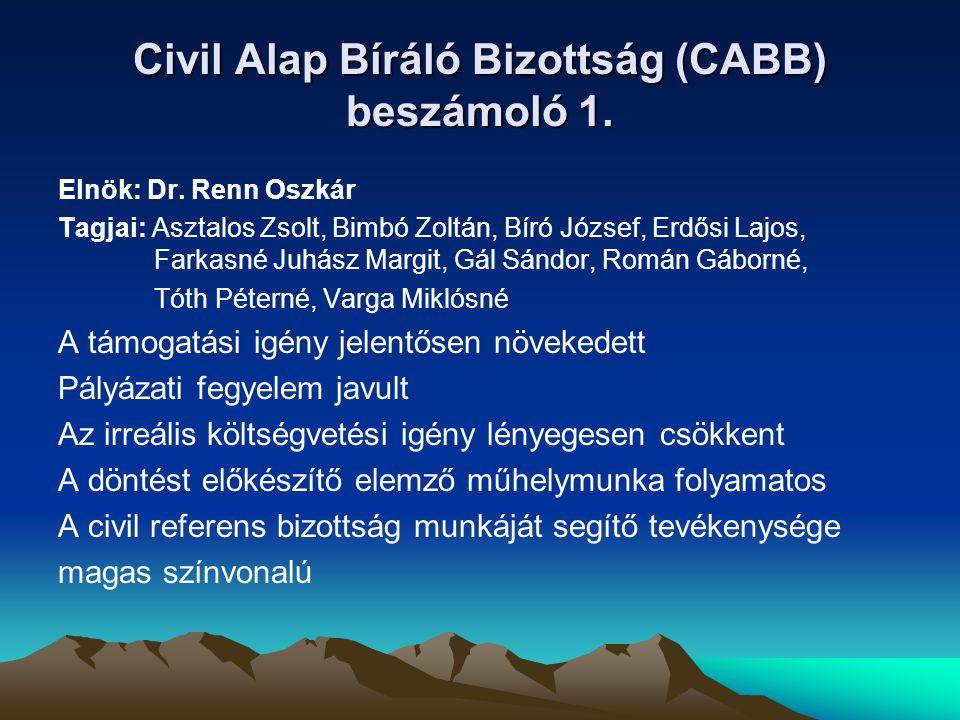 Civil Alap Bíráló Bizottság (CABB) beszámoló 1.