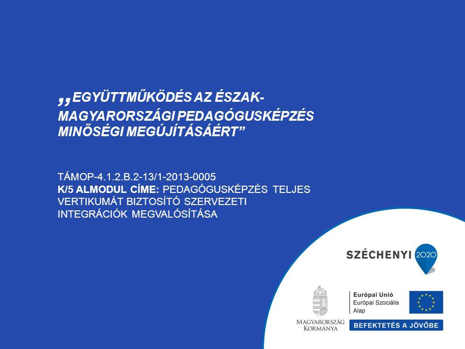 """""""Együttműködés az észak-magyarországi pedagógusképzés minőségi megújításáért TÁMOP-4.1.2.B.2-13/1-2013-0005 K/5 almodul címe: Pedagógusképzés teljes vertikumát biztosító szervezeti integrációk megvalósítása"""