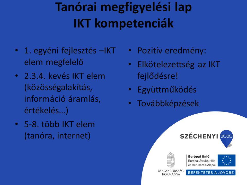 Tanórai megfigyelési lap IKT kompetenciák