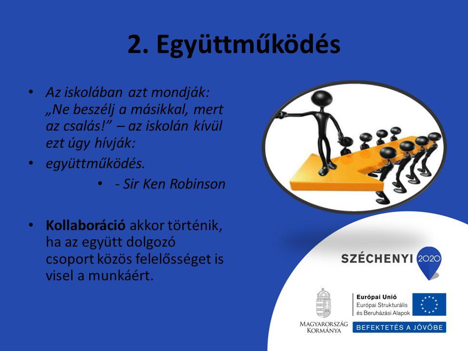 """2. Együttműködés Az iskolában azt mondják: """"Ne beszélj a másikkal, mert az csalás! – az iskolán kívül ezt úgy hívják:"""