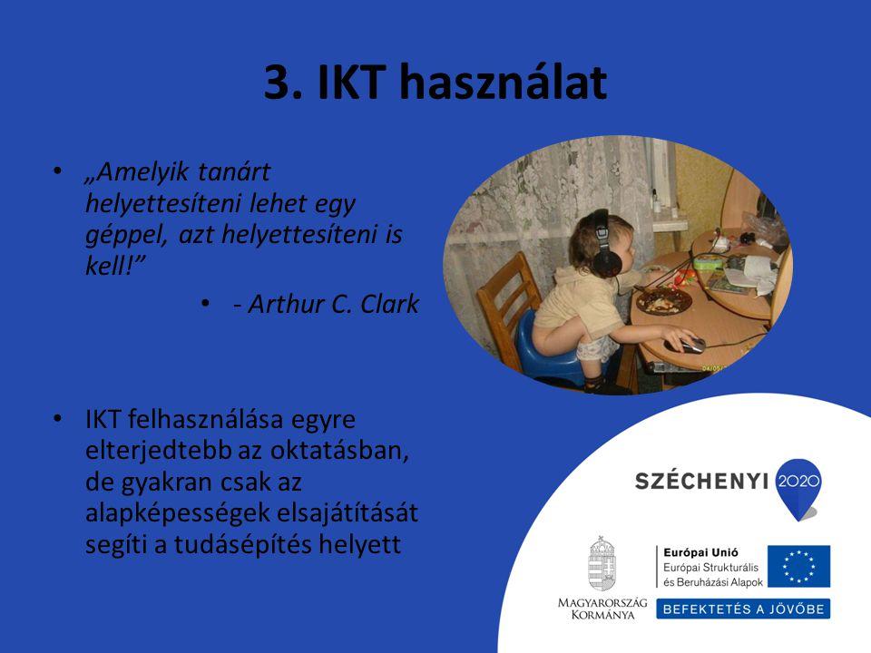 """3. IKT használat """"Amelyik tanárt helyettesíteni lehet egy géppel, azt helyettesíteni is kell! - Arthur C. Clark."""