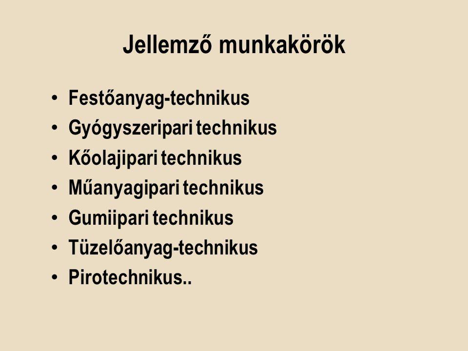 Jellemző munkakörök Festőanyag-technikus Gyógyszeripari technikus