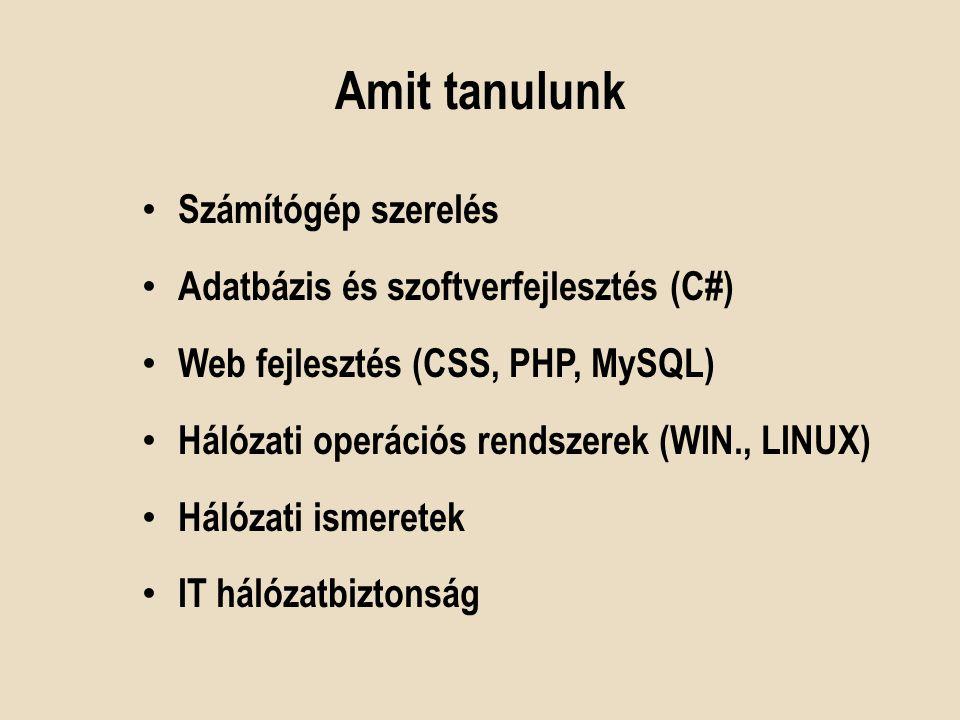 Amit tanulunk Számítógép szerelés Adatbázis és szoftverfejlesztés (C#)