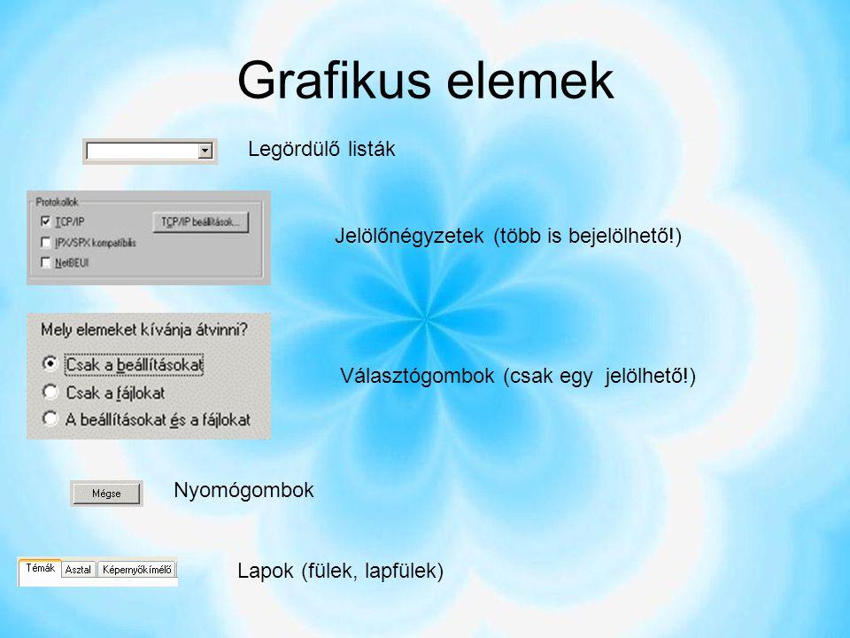 Grafikus elemek Legördülő listák