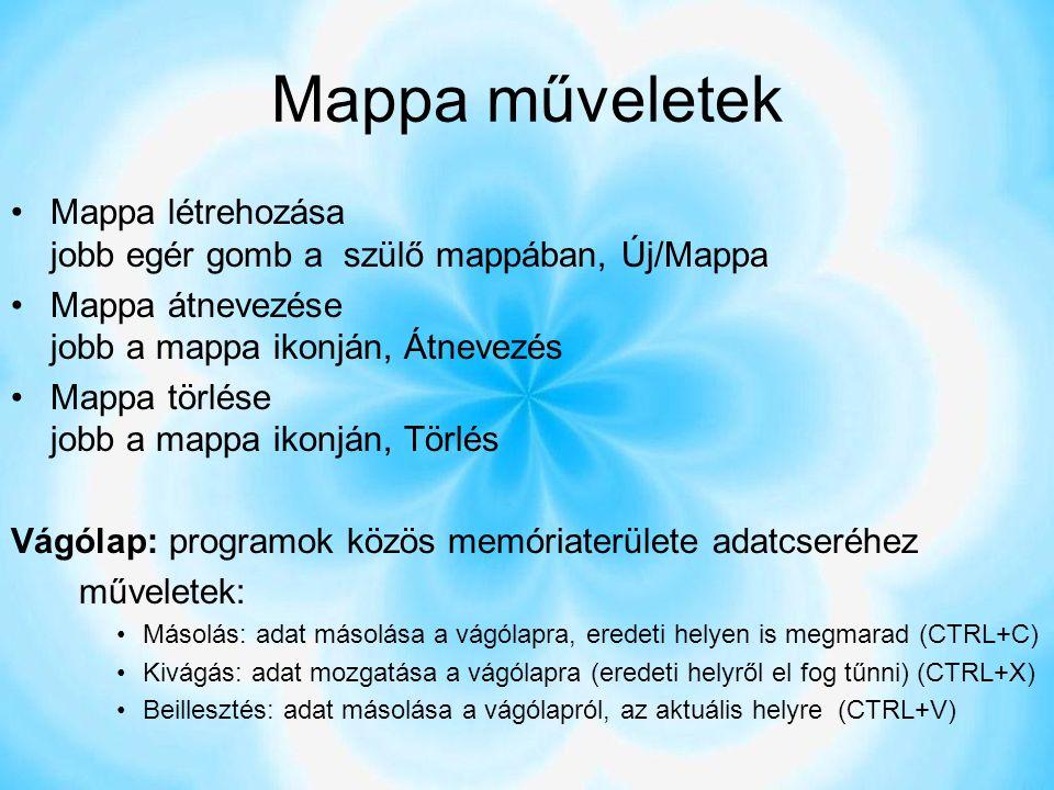 Mappa műveletek Mappa létrehozása jobb egér gomb a szülő mappában, Új/Mappa. Mappa átnevezése jobb a mappa ikonján, Átnevezés.