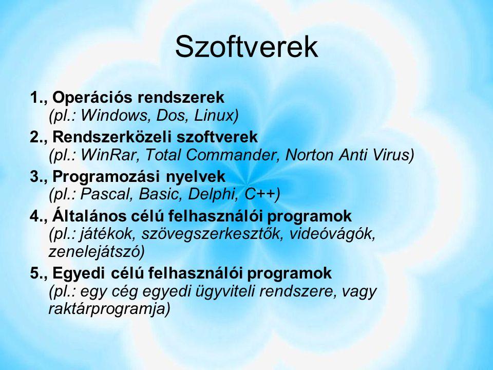 Szoftverek 1., Operációs rendszerek (pl.: Windows, Dos, Linux)