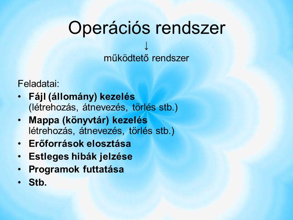 Operációs rendszer ↓ működtető rendszer Feladatai: