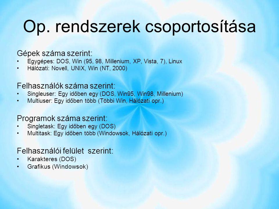 Op. rendszerek csoportosítása
