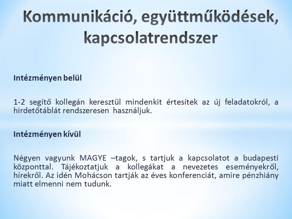 Kommunikáció, együttműködések, kapcsolatrendszer