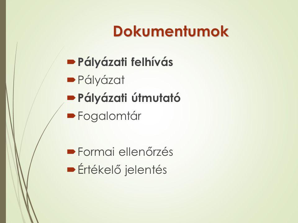 Dokumentumok Pályázati felhívás Pályázat Pályázati útmutató Fogalomtár