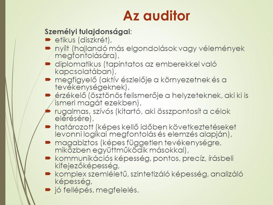 Az auditor Személyi tulajdonságai: etikus (diszkrét),