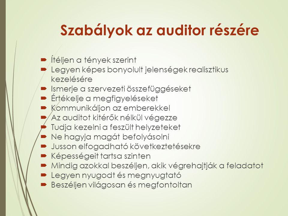 Szabályok az auditor részére