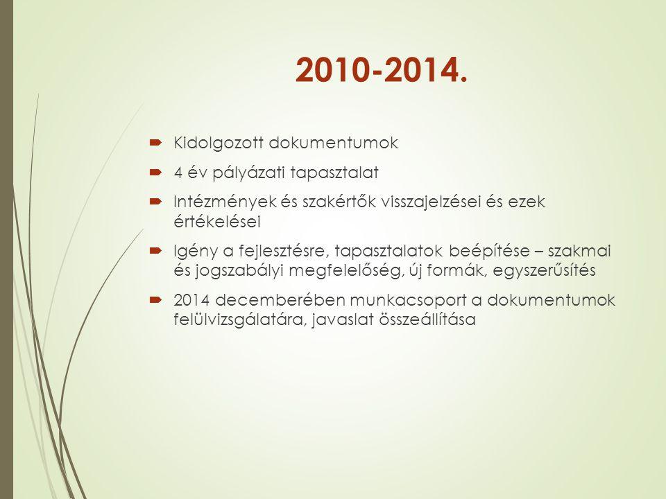2010-2014. Kidolgozott dokumentumok 4 év pályázati tapasztalat