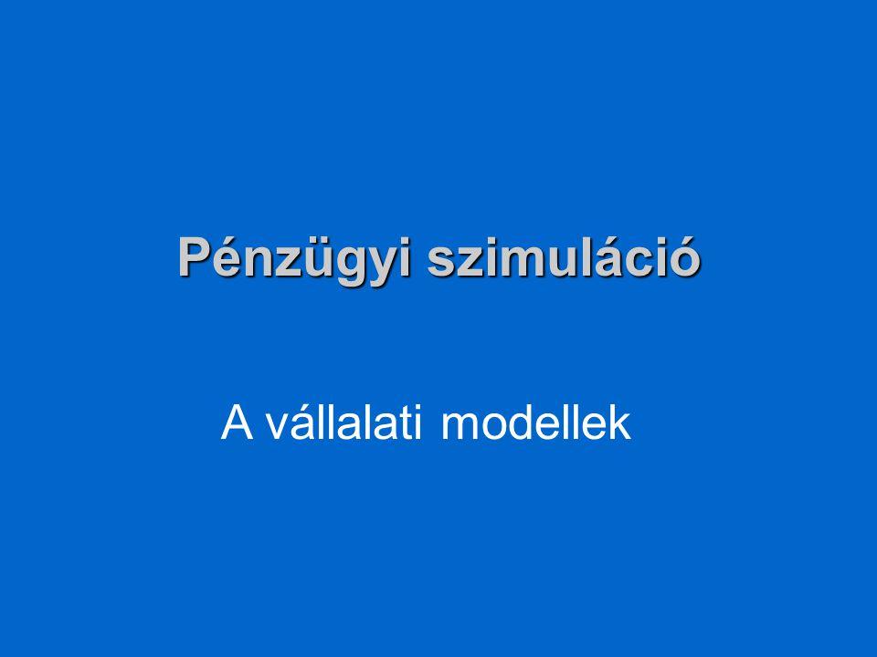 Pénzügyi szimuláció A vállalati modellek
