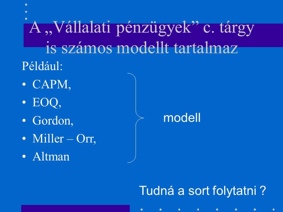 """A """"Vállalati pénzügyek c. tárgy is számos modellt tartalmaz"""