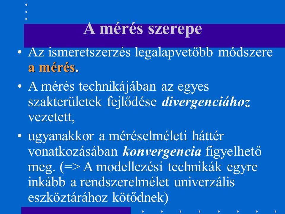 A mérés szerepe Az ismeretszerzés legalapvetőbb módszere a mérés.