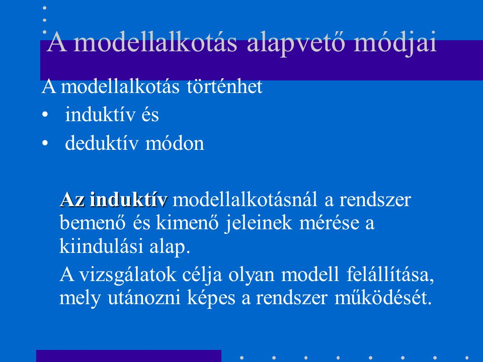 A modellalkotás alapvető módjai