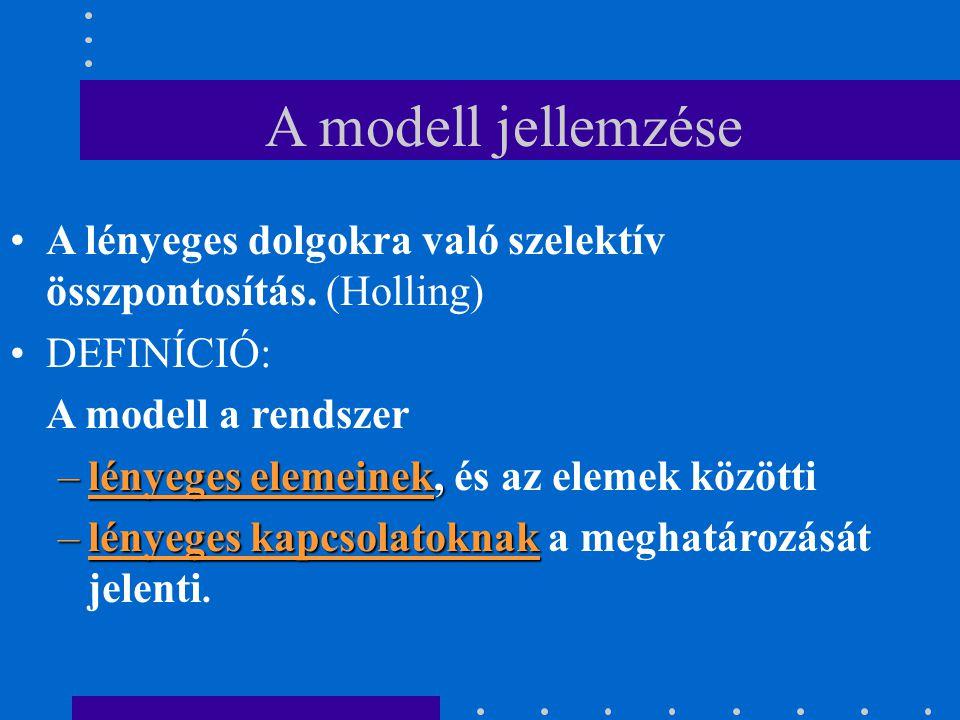 A modell jellemzése A lényeges dolgokra való szelektív összpontosítás. (Holling) DEFINÍCIÓ: A modell a rendszer.