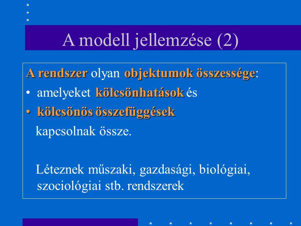 A modell jellemzése (2) A rendszer olyan objektumok összessége: