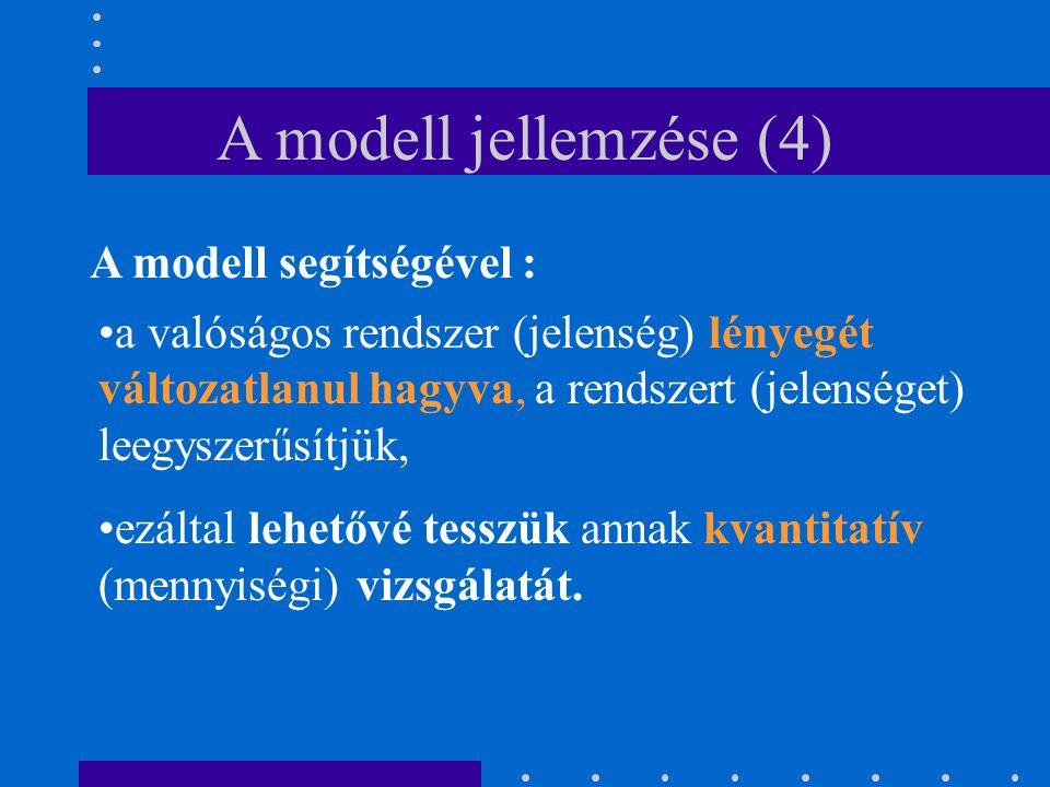A modell jellemzése (4) A modell segítségével :