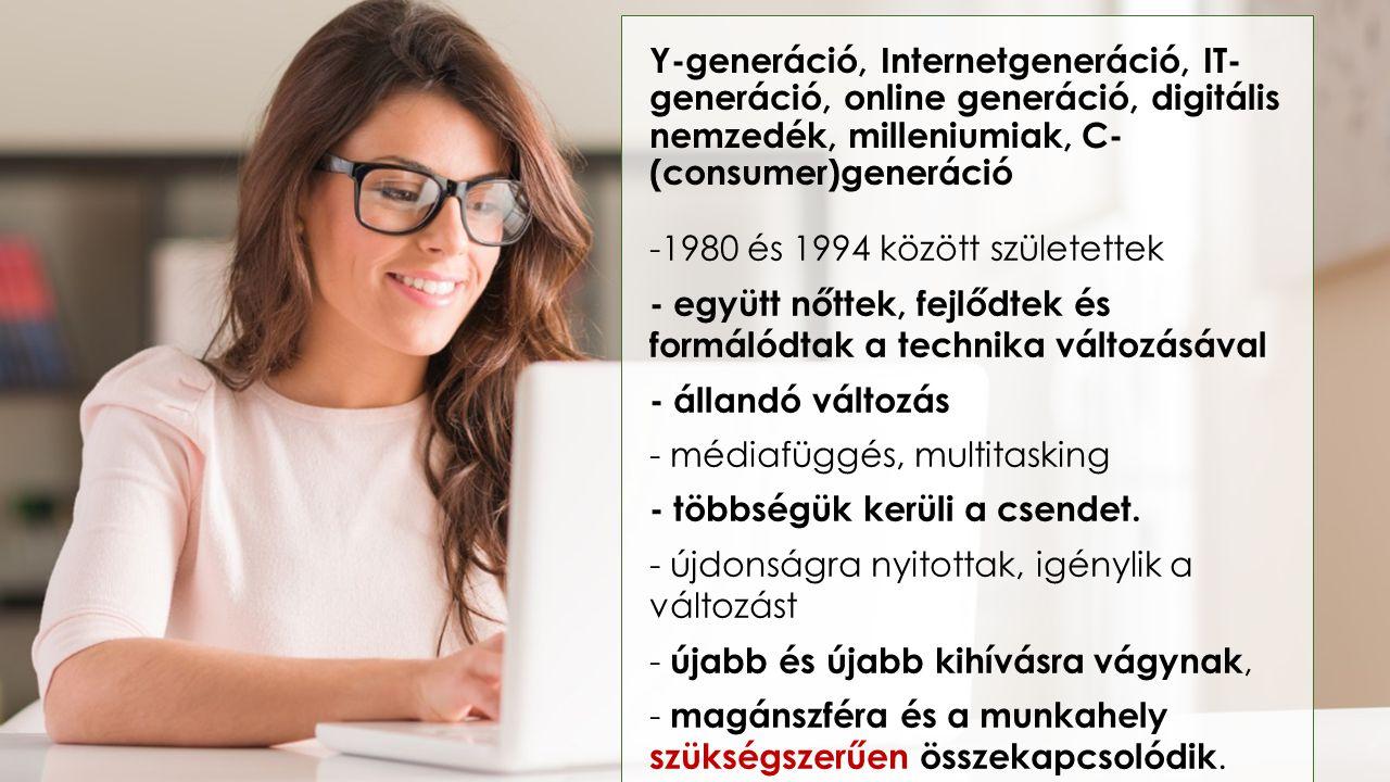 Y-generáció, Internetgeneráció, IT-generáció, online generáció, digitális nemzedék, milleniumiak, C-(consumer)generáció